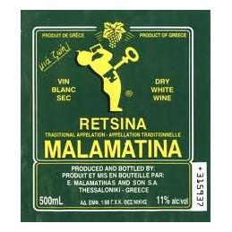 retsina Malamatina vin blanc grec résiné la retsina préférée des grecs