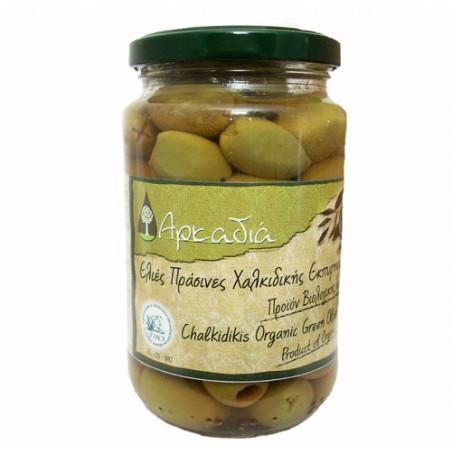 """Olives vertes  """"Chalkidiki"""" biologiques à l`huile d`olive ARCADIA - 215 g net égoutté"""