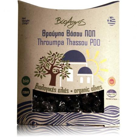 """Olives noires bio """"Thrumba"""" AOP à la grecque peu salées BIO AGROS - sachet 250 g"""