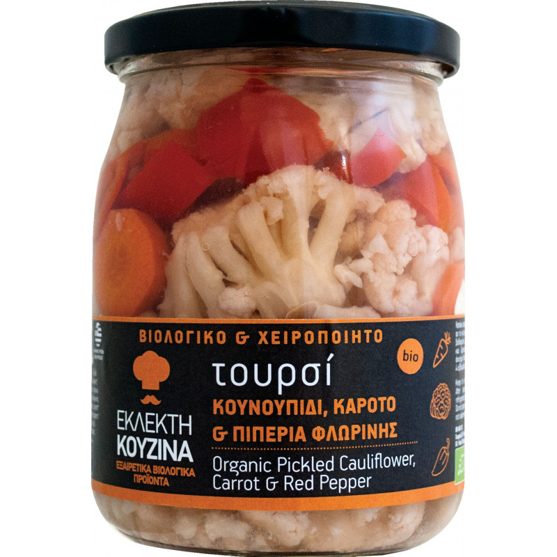 Mélange de légumes marinés bio (choux fleur, carotte, poivron) BIO AGROS - bocal 420 g net égoutté